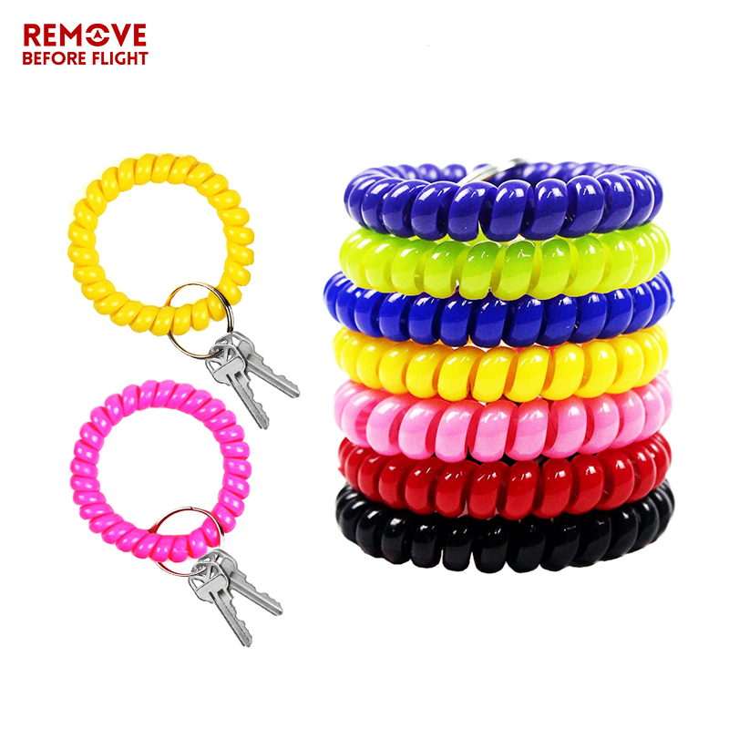 Fashion Multifunctional Coil Bracelet Key Ring Holder Coil Spring Key Chains Jewelry Hair Ring Sauna and Beach Keyring Bracelets (1)