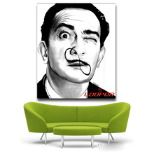 Salvador Dali Funny black and white protrait Pop Art Oil Painting Face Portrait Print Wall Painting For Living room No Frame