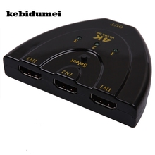 kebidumei High Quality 4K*2K MINI HDMI Splitter 3 Port Hub Box Auto Switch 3 In 1 Out Switcher 3D 1080p HD 1.4(China)