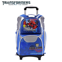 Transformers cartoon trolley/wheels school/books/children/kids bag rolling backpack detachable for boys grade/class 1-4