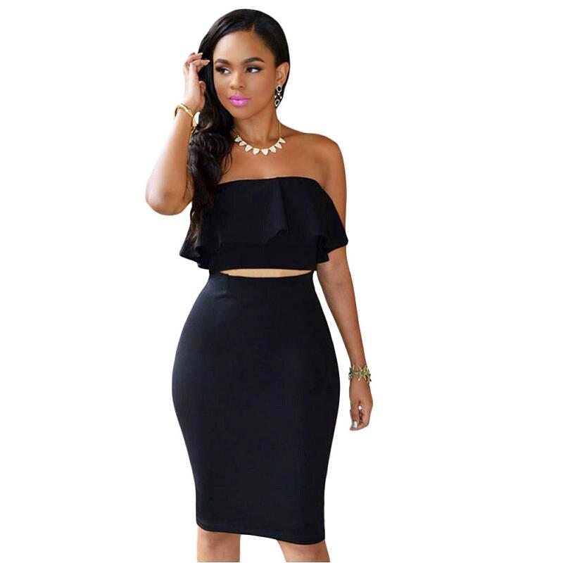 ADEWEL 2018 Women Off Shoulder Ruffles Two Piece Dress Sexy Bodycon Club Crop Top & Midi Dress Sets Party Dress Suit Vestidos (5)