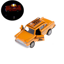1:32 Taxi Alloy Car Model For Kids Toys Diecast Toy Car Hot Wheels Christmas Gift Flashing Musical Pull Back Taxi Alloy Car