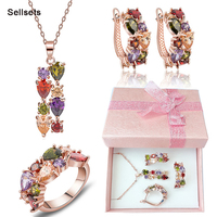 Free Shipping Ring Size 6-9  Rose Gold Plated Multicolor Zircon Necklace Earring Set Cubic Zirconia Women Jewelry Sets
