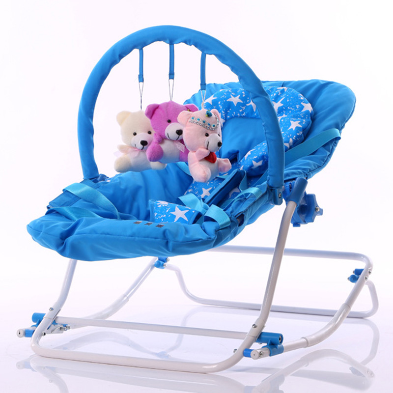 2017 Infant Rocking Chair Baby Bouncer Sit and Lie Folding Baby Rocker Chair Recliner Swings Appease the Child Toys Cradle(China)