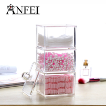Storage Box Clear Q-tip Holder Box Cotton Swabs Stick Jewelry Storage Cosmetic Makeup Storage Box C128(China)