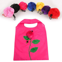 New 5PCS Fashion Rose Flowers Red Eco Bag Shopping Bag Travel Grocery Bags Foldable Bag Reusable S Practical Home Kitchen Decor(China)