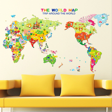 Cartoon Animal World Map Living Rooom Wall Sticker For Kids Rooms Bedroom Carte Du Monde Adesivo De Parede(China)
