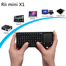 Black 3 in 1 Rii mini X1 Handheld 2.4G RF Wireless Keyboard Qwerty with Touchpad Mouse For PC Notebook Smart Google TV Box