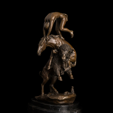 Classical Bronze Statues animals and human figurines goat with horse sculptures Christmas Promotion(China)
