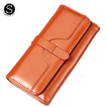 Senkey Style Retro 2017 Long Leather Wallet Women Luxury Brand Money Clip Womens Wallets And Purses Designer Purse New Clutch(China)