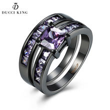 Classical Black Gun Plated Wedding Ring for women bijoux for lady vintage luxury Shiny simulated CZ Diamonds Jewelry Accessorie