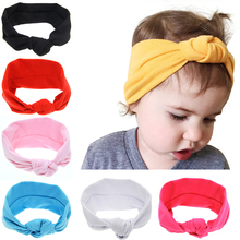 2017 New Soft Girls Headbands BB Solid Color Tie Knot Hair Bands Head Wrap Elasticity Hairband Girls Hair Accessories