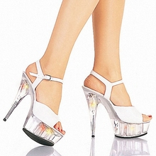 Brand Summer new nightclub sandals, sexy appeal 15cm super high heels Advertising fish mouth high-heeled shoes