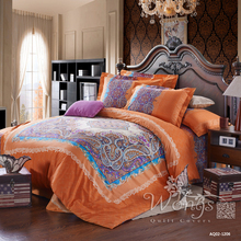 Bedding Set Full Queen Size Bed New 100% Cotton Linen Quilt Cover Set Pillow Cases Home Textile Orange&Pink Paisley Duvet Covers