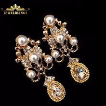 Bridal Jewelry Imitated Pearl Crystal chandelier Earrings Gold Tone Scroll Work Statement Pear Shaped Drop Earrings for Wedding