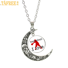 TAFREE 2017 fashion Love Basketball glass gem pendant casual sports men women ball fans necklace jewelry Cheerleading gift SP446