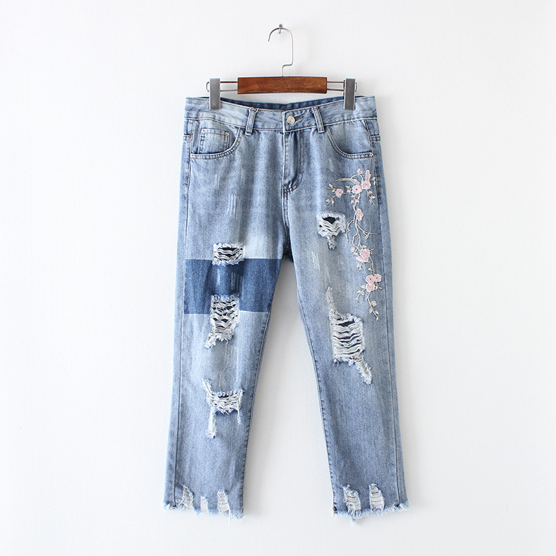 2017 Wash Blue Denim Ripped Cropped Trousers - Flowers Embroidered Destroyed & Distressed Jeans - Frayed Cuffs Busted Knee Jeans