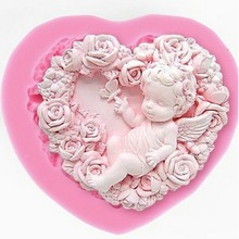 Rose Angel Craft Art Silicone Soap Mold 3D Craft Molds DIY Fimo Resin Clay Candle Molds Fondant Handmade Soap Moulds(China)