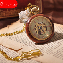 Wooden Men Mechanical Pocket Watch Russian Emblem Parties Clock Style Gold Analog Antique Round Cool Sales Hand Winding Watch