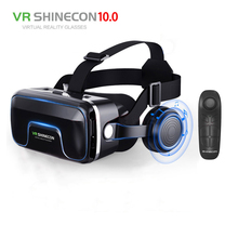 Hot!2018 Google Cardboard VR shinecon Pro Version VR Virtual Reality 3D Glasses +Smart Bluetooth Wireless Remote Control Gamepad(China)