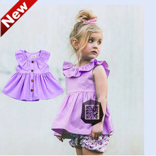 Baby Girls Clothes Toddler Dress Purple Dresses For Girl Vestidos Jurken Age 1-3 years YN3(China)