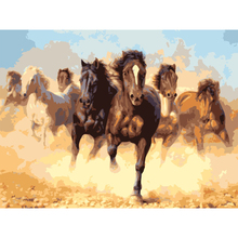 Qluo Seven Horses Pettern Oil Painting By Numbers On Canvas Digital Wall Pictures Handwork Diy Gift Fashionable Home Decor