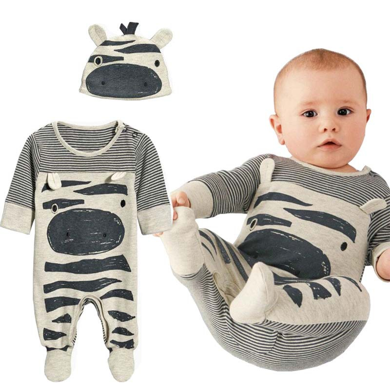 2017 New style baby boys clothes Zebra gray long-sleeved jumpsuit+hat baby suitable for 0-24 month children kids clothes Romper<br><br>Aliexpress