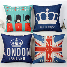 Hot Sale Pillow Lovely Cartoon London Almofadas 45X45CM Linen Pillow Decorative Linen Cushion Cover without filling