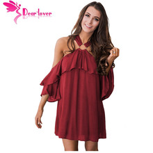 Buy Dear-Lover Elegant Dresses 2017 Shoulder Summer Vestidos Burgundy Adorable Sexy O Ring Detail Boho Ruffle A-line Dress 22967 for $14.17 in AliExpress store