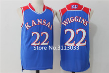 #22 Andrew Wiggins Kansas Jayhawks KU College Basketball Jersey Blue white Embroidery Stitched Custom any Number and name(China)