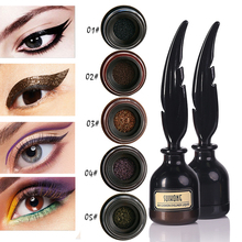 Colorful liquid eyeliner pen waterproof long lasting air cushion eyeliner black brown shimmer eyeliner with feather brush AC027(China)