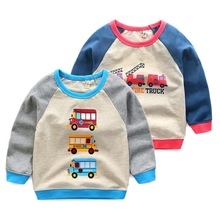 Boy T-shirt Children 's Clothing Cartoon School Bus Fire Truck Two Models Printed Cotton Bottoming T-shirt 3~8 Y