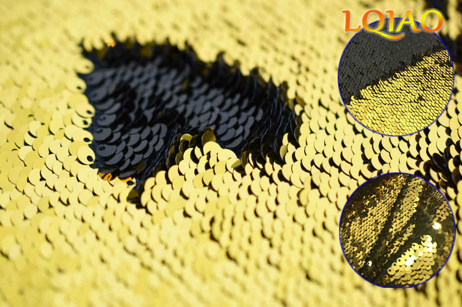 gold black reversible sequin fabric Gold