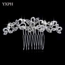 YXPH Beautiful Woman Hairwear Wedding Jewelry Brautschmuck Bride Haircomb Handmade Nice Accessories Fashion Crystal Leaves Combs