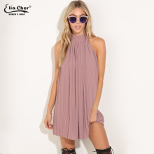 Buy New Brand Women Cute Dress High Neck Pleated Halter Sexy Chiffon Party Dresses Woman Clothing Summer Dress Vestido 8713