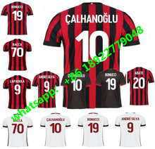 Top Thai quality 2017 2018 AC Milan soccer jersey 17 18 BACCA KAKA away white BONAVENTURA AC Milan football shirts(China)