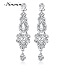 Minmin Silver Champagne Color Long Drop Earrings Chandelier Shape Bridal Crystal Earrings for Women Wedding Jewelry Gift EH162(China)