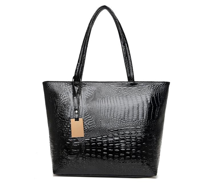 Brand Fashion Casual Women Shoulder Bags Silver Gold Black Crocodile Handbag PU Leather Female Big Tote Bag Ladies Hand Bags Sac 9
