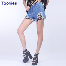Toonies European Ripped Jeans Shorts Summer Fashion False Two All-match Nets Stitching Denim Shorts High Waist Worn Slim Female