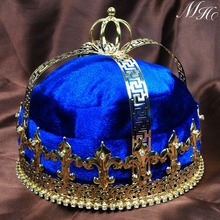 "Blue Velvet Imperial Medieval Crowns Fleur De Lis 6.5"" King Full Round Gold Tiaras Pageant Party Costumes For Men(China)"