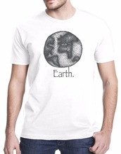Simple and cozy Brand T Shirts Creative Design Summer Hot Sale Earth Drawing Art Design Men'S O Neck Cotton T-Shirt(China)