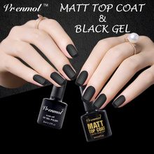 Vrenmol 2pcs Clear Matt Matte Top Coat+Black Color Gel Polish UV Gel Nail Art Design Long Lasting Soak Off Gel Varnishes