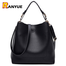 High Quality Leather Women Bag Bucket Shoulder Bags Solid Big Women Handbag Set Large Capacity Tote Bolsas Feminina Famous Brand(China)
