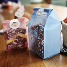 50pcs/lot Plastic Biscuit Cookie Bag Bear Candy Bags easter Wedding Party Candy Decoration Box Baby Shower Favour Gifts S3