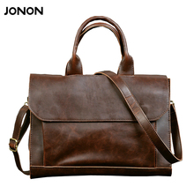 JONON 2016 new arrival men's messenger bags Leather Shoulder Messenger Business Computer Briefcase Laptop Bag for 12 Inches