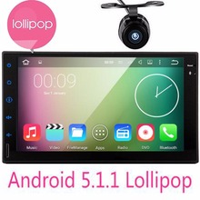 "7"" Double 2 Din Android 5.1 Lollipop Universal Car Radio Quad Core HD Car GPS Navigation Head Unit Car PC with gps Navitel camer"
