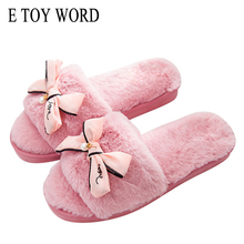 E TOY WORD brand fur flip flops sweet lace bow fur slides women designer winter sandals warm and cozy home slippers with flower(China)