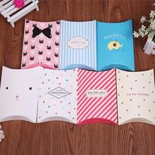 2pcs Wedding pillow candy box kraft paper Cartoon pillow candy boxes Supply Accessories Favour Kraft Paper Gift Bags Cute 3(China)