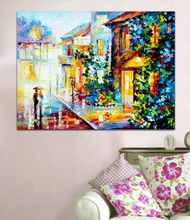 Palette Knife Picture Night Street Harbor Cityscape Architecture Painting Printed on Canvas for Home Hotel Wall Art Decoration