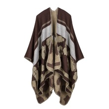 Winter warm women scarf leopard cashmere triangular needle seam office multi - functional patchwork Poncho Wrap shawl cloak
